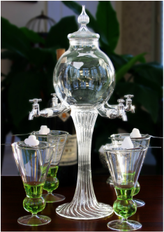 4 Spout Deluxe Absinthe Fountain Set Glasses And Spoons